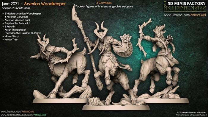 Arverian Cervitaur des Arverian Woodkeepers créé par Artisan Guild de 3D Minis Factory