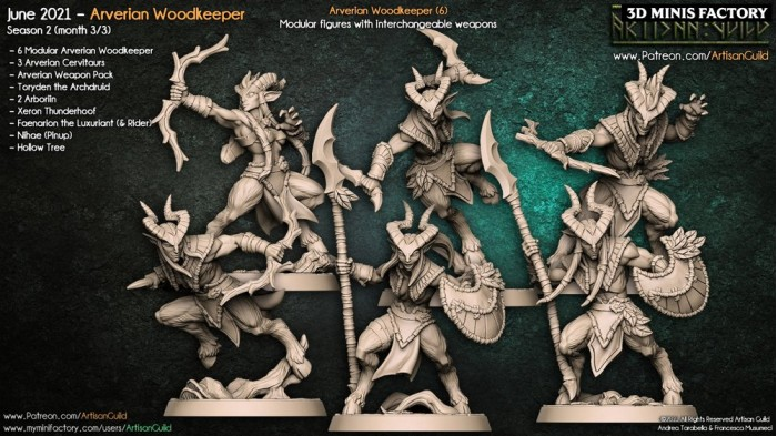 Modular Arverian Keepers des Arverian Woodkeepers créé par Artisan Guild de 3D Minis Factory