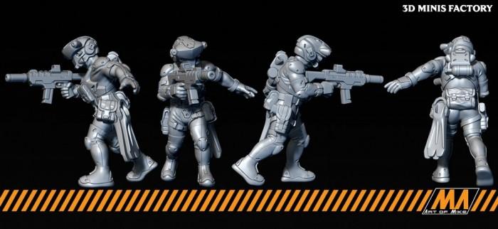 Devgru 01 des Cyberpunk créé par Art of Mike de 3D Minis Factory
