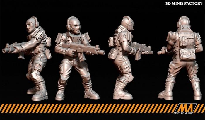 Militia 02 des Cyberpunk créé par Art of Mike de 3D Minis Factory