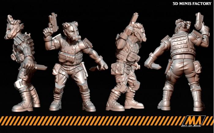Militia 05 des Cyberpunk créé par Art of Mike de 3D Minis Factory