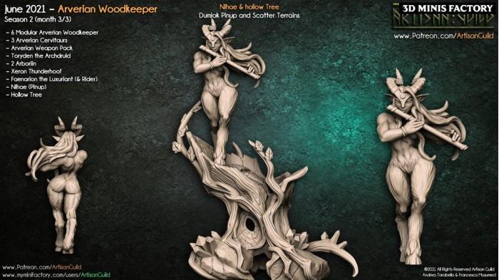 Nihae - Arverian Pinup & Hollow Tree des Arverian Woodkeepers créé par Artisan Guild de 3D Minis Factory