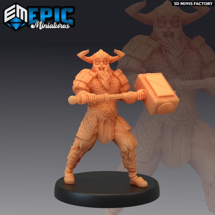 Viking Raider Male Hammer des Norse Raiders créé par Epic Miniatures de 3D Minis Factory
