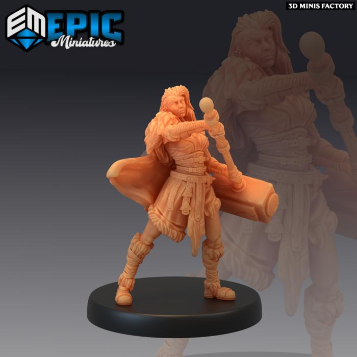 Viking Raider Female Hammer des Norse Raiders créé par Epic Miniatures de 3D Minis Factory