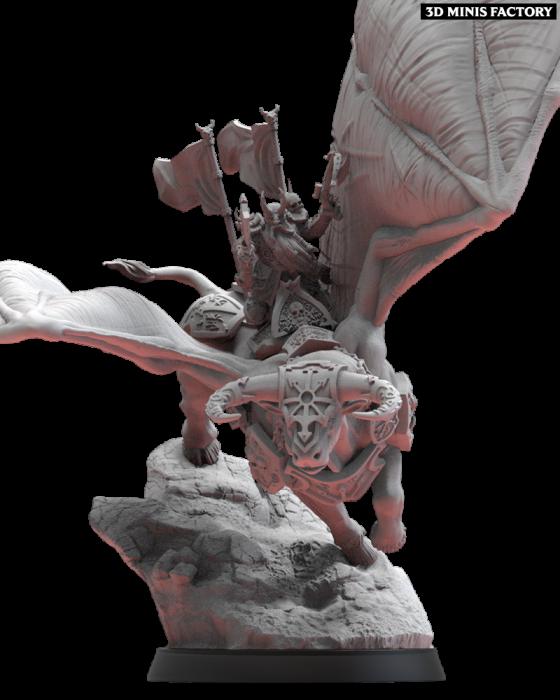 Dainn Longbeard On Taurus des Nains Infernaux créé par Lost Kingdom Miniatures de 3D Minis Factory