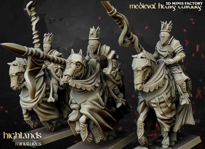 Medieval Heavy Cavalry des Royaume Humain créé par Highlands Miniatures de 3D Minis Factory