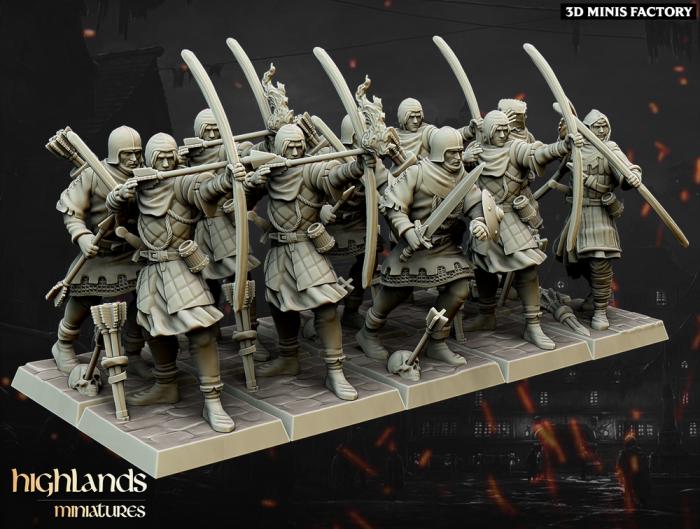 Medieval Archers Unit des Royaume Humain créé par Highlands Miniatures de 3D Minis Factory