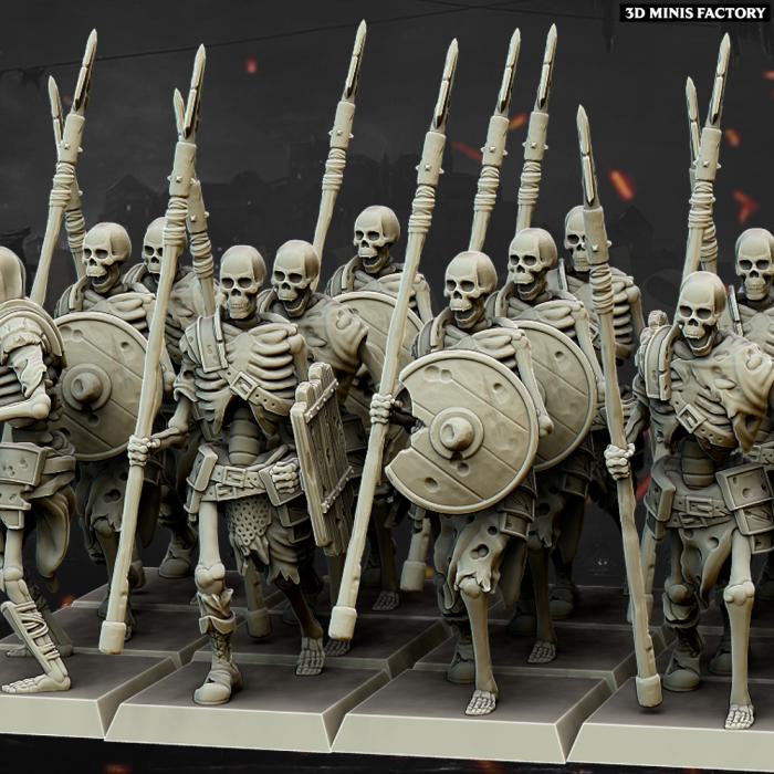 Skeleton Spearmen Core Unit des Undead créé par Highlands Miniatures de 3D Minis Factory