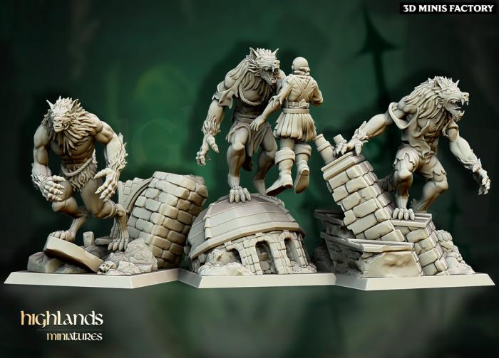 Werewolves Unit des Undead créé par Highlands Miniatures de 3D Minis Factory