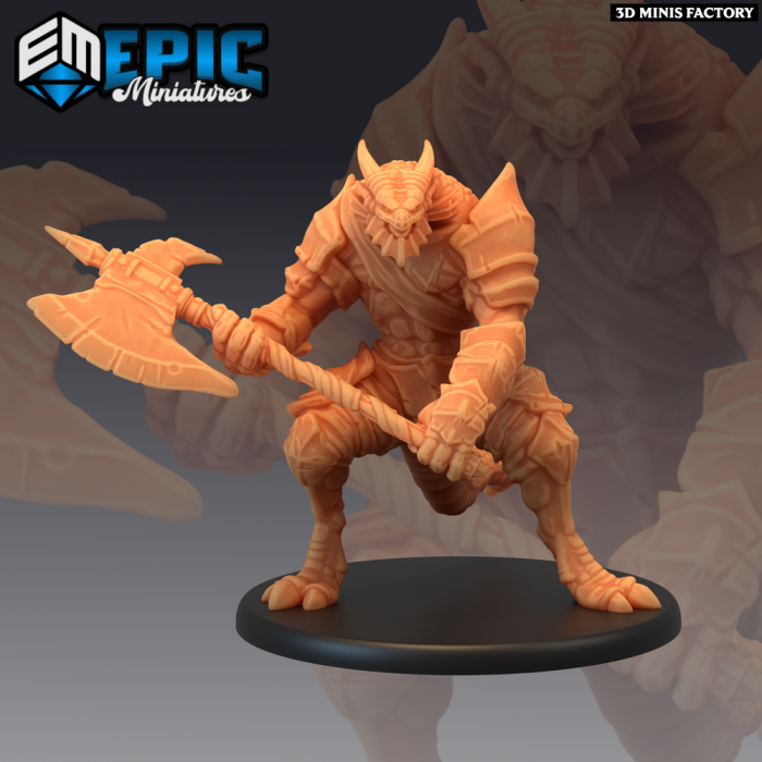 Dragonborn Warrior Axe des Serpentia Reborn créé par Epic Miniatures de 3D Minis Factory