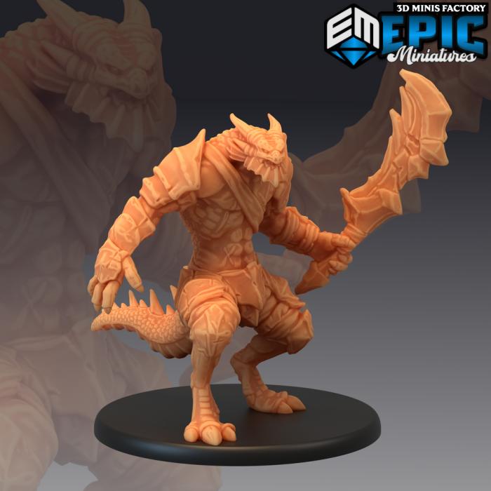Dragonborn Warrior Sword des Serpentia Reborn créé par Epic Miniatures de 3D Minis Factory