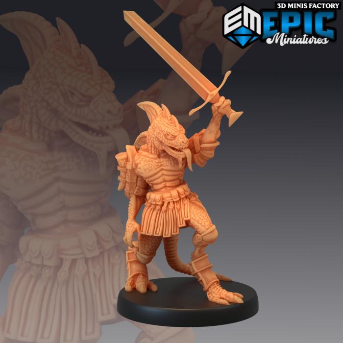 Lizardfolk Sword Champion - 2 Variations (Medium) des Serpentia Reborn créé par Epic Miniatures de 3D Minis Factory