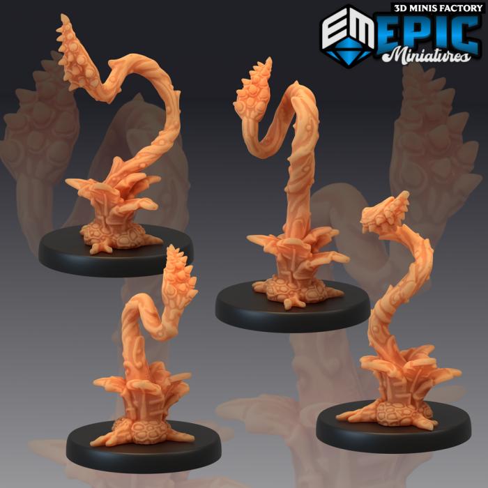 Plant Tentacles Four Variations des Corrupted Forest créé par Epic Miniatures de 3D Minis Factory