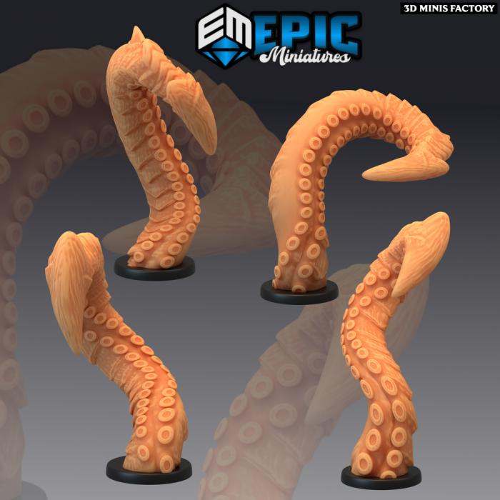 Kraken Tentacles Four Variations des Endless Depth créé par Epic Miniatures de 3D Minis Factory
