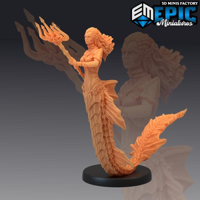 Siren Warrior des Endless Depth créé par Epic Miniatures de 3D Minis Factory