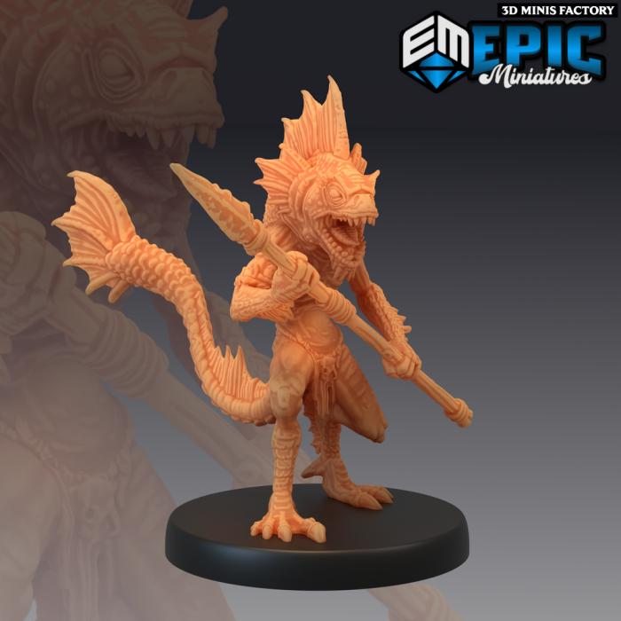 Fishfolk Spear Warrior des Endless Depth créé par Epic Miniatures de 3D Minis Factory