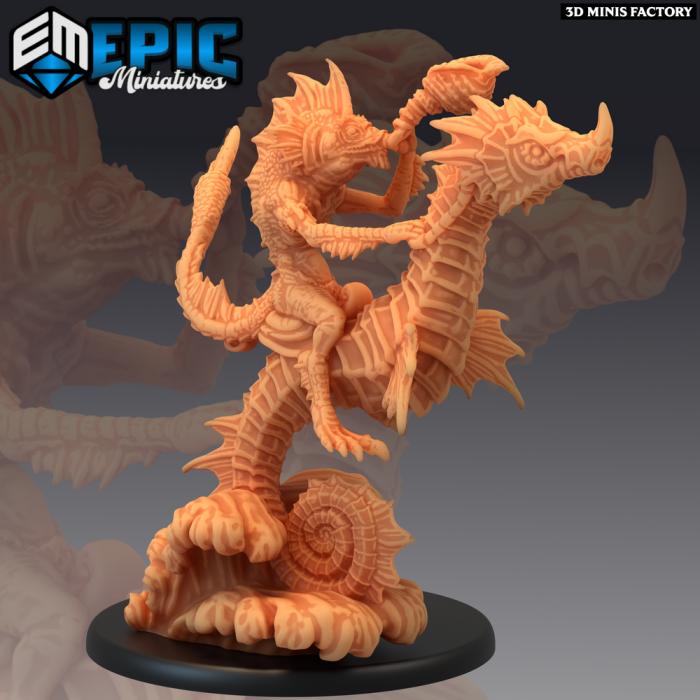 Fishfolk Rider Battle Horn des Endless Depth créé par Epic Miniatures de 3D Minis Factory