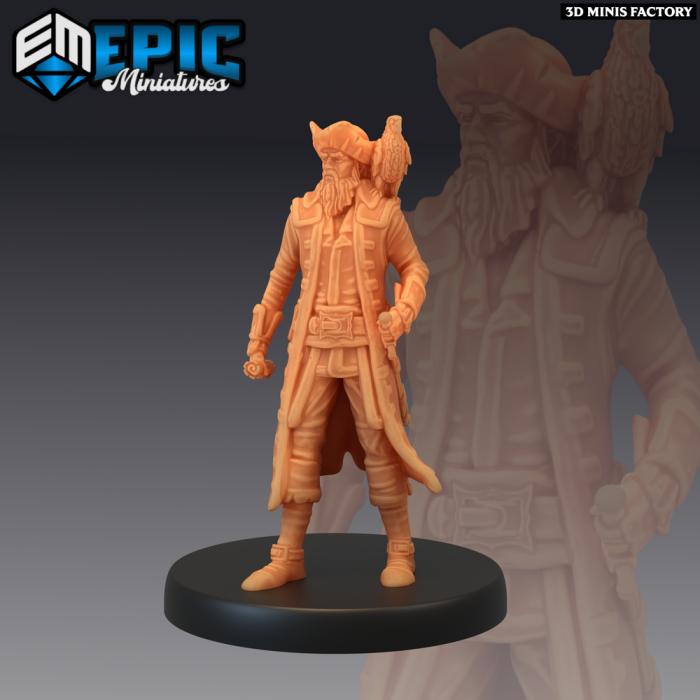 Pirate Captain Exploring des Pirates Voyage créé par Epic Miniatures de 3D Minis Factory