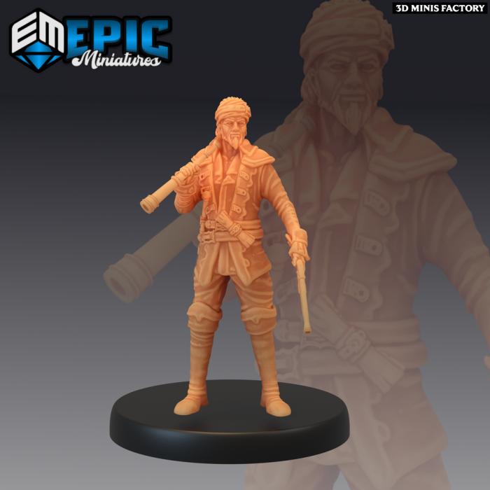 Pirate Sailing Master Navigating des Pirates Voyage créé par Epic Miniatures de 3D Minis Factory