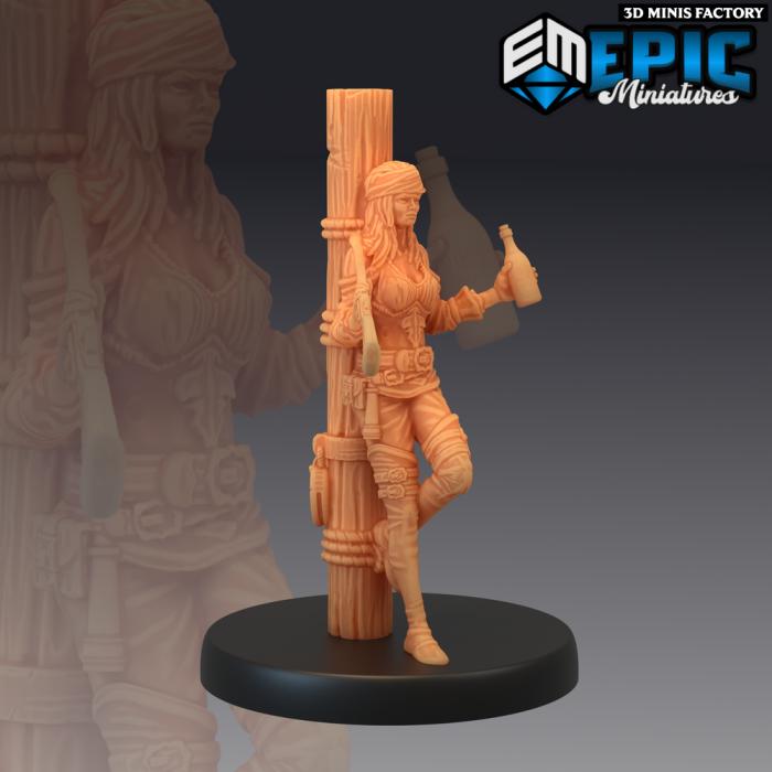 Pirate Gunner Leaning des Pirates Voyage créé par Epic Miniatures de 3D Minis Factory