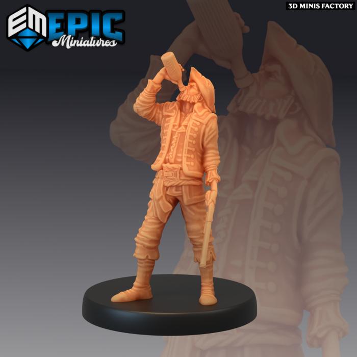 Pirate Marauder Drinking des Pirates Voyage créé par Epic Miniatures de 3D Minis Factory