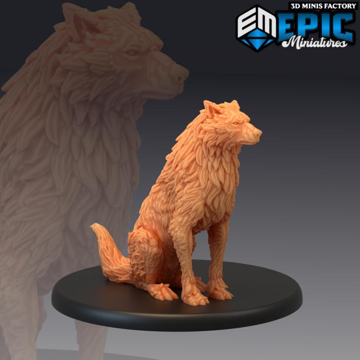 Winter Wolf Sitting des Arctic Nights créé par Epic Miniatures de 3D Minis Factory