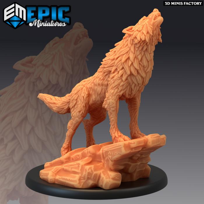Winter Wolf Howling des Arctic Nights créé par Epic Miniatures de 3D Minis Factory