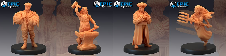 Villager Collection de Epic Miniatures pour Warhammer 9th age, AOS, KOW,...