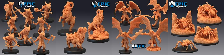 Les figurines des Savage Mountains d'Epic Miniatures sont sur 3D Minis Factory