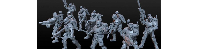 Soldats Astra Militarum et Astartes de Art of Mike pour Warhammer 40.000, Infinity, Necromunda, etc.